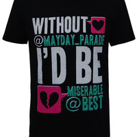 Mayday Parade - Guys Tweet Green Print T-Shirt (Black) | Firebrandstore - Hundreds of Music Merchandise and branded goods