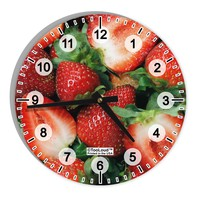 """Strawberries All Over 8"""" Round Wall Clock with Numbers All Over Print"""