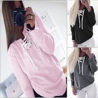 Long Sleeve Lace Up Drawstring Collar Sweater