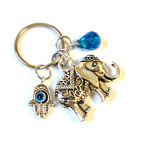 Sacred Elephant Keychain Bag Charm Hamsa Evil Eye Yoga Accessories Blue Indie Party Favors Unique Stocking Stuffer Christmas Under 20