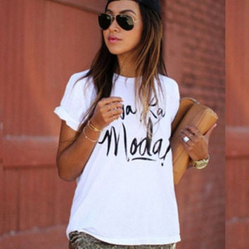 2017 Trending Fashion Women Floral Printed Floral Printed Round Necked Short Sleeve Alphabets Words T-Shirt _ 12019