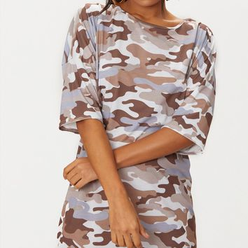 Camel Camo T-Shirt Dress