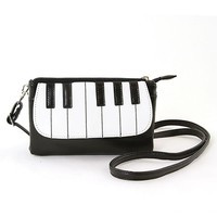 Piano Keyboard Musical Zippered Small Wristlet Crossbody Purse