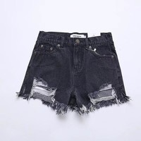 Hot Shorts Fashion Summer Denim Womens  Sexy Butt Ripped Jeans  Fringe High Waisted  For Women Cool Hole Short JeansAT_43_3