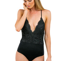 Trendy Black Lace Halter Cross One Piece Bathing Suits