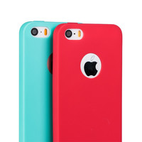 Ultrathin Case for iPhone 5 5S SE 6 6S 6Plus 7 7Plus Candy Colors Soft TPU Silicon Cell Phone Cases with Logo Window Accessories
