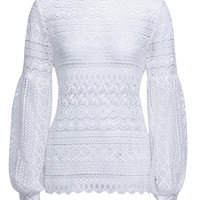 White Puff Sleeve Keyhole Back Lace Cut Out Blouse
