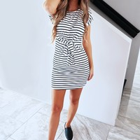 Call You Later Dress: Black/White