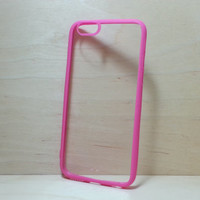 iPhone 6 (4.7 inches) Case Silicone Bumper and Clear Hard Plastic Back - Rose Pink