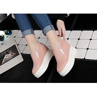 Women Wedges Height Increasing Loafers Platform Shoes
