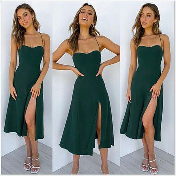 2020 women's new arrival pure color sexy sling split dress