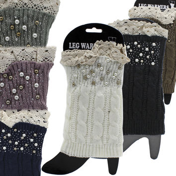 * Lace And Pearls Accent Leg Warmers