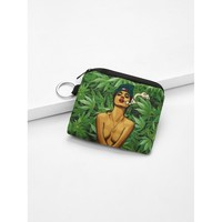 Figure Print Canvas Wallet