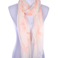 Starfish Print Frayed Edge Scarf