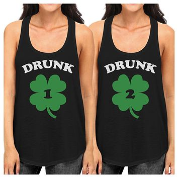 Drunk1 Drunk2 Funny Best Friend Matching Tanks For St Patricks Day