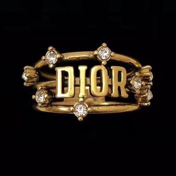 Dior Newest Women Chic Diamond Letter Rings Jewelry Accessories