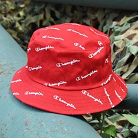 Champion Stylish Women Men Full Logo Print Shade Sunhat Fisherman Hat Cap Red I12420-1