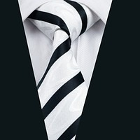 Men Silk Tie White Novelty NeckTie Silk Jacquard Ties For Men Business Wedding Party