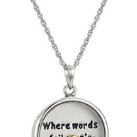 """Sterling Silver Black Floating Crystals and Music Note """"Where Words Fail Music Speaks"""" Pendant Necklace, 18"""""""