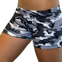 Camouflage Spandex Shorts (2.5 In. Adult L 10-12, Black and White Camo)