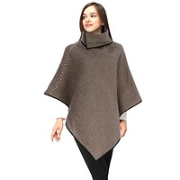 Stone Marbled Collared Poncho with Pearl Accents