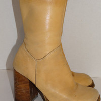 Vintage Chunky BONGO Tan Leather Boots Mid Calf Zip Up Boots- Rustic/ Country/Steampunk/ Country Western/ Cowgirl Styles Size 7 1/2 M