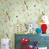 Chinese Style Pastoral Flower Bird Wallpaper 3D Embossed PVC Waterproof Living Room Bedroom Wall Paper Rolls Home Decoration