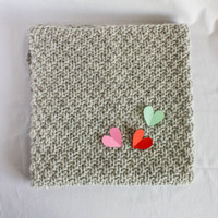 Knit Baby Blanket, Knit by hand 100% wool