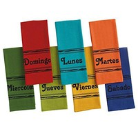 Spanish Days of the Week Kitchen Towels. One Color for Each Day of Week. Set of 7