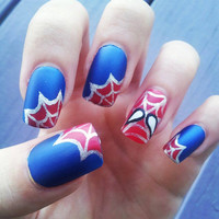 Spider-man hand-painted fake nails