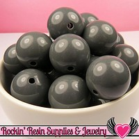 20mm Gray Round Acrylic Bubblegum Beads 10 pieces
