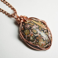 Leopardskin Jasper Bezel Set Copper Pendant Small Wire Wrapped Necklace Bare Copper Handmade Metaphysical Gemstone Nature Jewelry