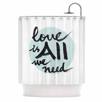 """Qing Ji """"Love Is All We Need"""" Teal Black Shower Curtain"""