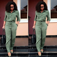 Army Green Half Sleeve Lapel Jumpsuit