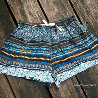 Blue Boho Aztec Ethnic Print Ikat Boxers For Summer Beach Shorts Pants Tribal Clothing  Cotton Rayon Cute Comfy Women Thaicloth Thailand