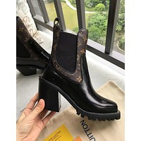 LV Louis Vuitton Newest Popular Women High Heels Shoes Boots Coffee/Black I-ALS-XZ