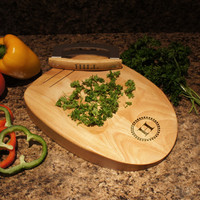 """Designer's Kitchen Herb Chopping Block with Built-In Double Bladed Knife and Family Monogram Design Options  (Each - 11.8"""" x 8.5"""" x 1.5"""")"""