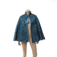 Vintage 80s Hippie Ethnic Gypsy Cape 1980s Turquoise Blue and Black Woven Draped Boho Cloak Winter Jacket Swing Tribal Poncho Coat