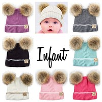 Little Baby Booboo Double Pom Solid Knit CC Beanie