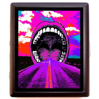 Psychedelic Mouth Cigarette Id Case Business Card Holder Wallet - Trippy Art of Road into Mouth - Surreal - Music Festival - Visionary Pop