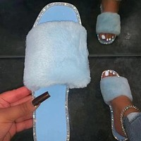 Home Durable Fashion All-match Sandals Single Layer Furry Flat Non-slip Ladies Candy Color Slippers