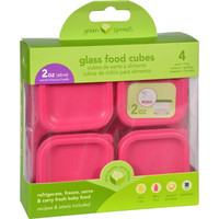 Green Sprouts Storage Cubes - Glass - Fresh Baby Food - Fucshia - 2 Oz - 4 Pack
