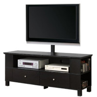 """60"""" Wood TV Stand with Mount and Storage (Black) (58""""W x 55""""H x 16""""D)"""