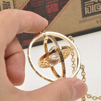 Harry potter Time travel Jewelry.  Rotating Spins Gold Hourglass Pendant Necklace. Fast shipping from USA