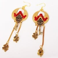 "Steampunk Earring ""Cleopatra"" - Gold Egypt Scarab Wing Antique Key Clover Leaf - Exquisite Red Steampunk Earring for Her"