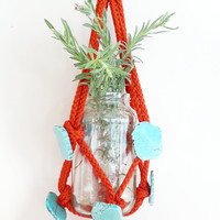 Turquoise Room Decor- Shabby Chic Decor- Macrame Hanging Planter- Boho Wall Hanging- Living Room Decor- Home Decor- Mother's Day Gift- Boho