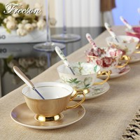 Europe Noble Bone China Coffee Cup Saucer Spoon Set 200ml Luxury Ceramic Mug Porcelain Tea Cup Tray Cafe Party Drinkware Gift