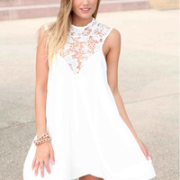 Scope Back Lace Top Chiffon Beach Mini Dress
