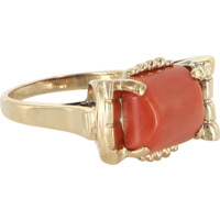 Salmon Coral Retro Vintage Cocktail Ring 14 Karat Yellow Gold Estate Fine Jewelry