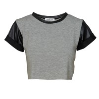 PU Sleeve Crop Top in Grey